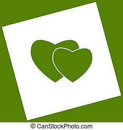 obtained, quadrado, abacate, sinal., girado, dois, experiência., subtração, vector., corações, branca, ícone, path., resultado