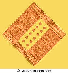 obtained, teken., rhomb, krabbelen, medisch, koninklijk, gele, achtergrond., aftrekking, vector., pictogram, path., pillen, rood, resultaat