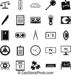 Obtaining knowledge icons set, simple style - Obtaining...
