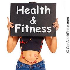 obtendo, saudável, sinal, saúde, exercício aptidão, mostra