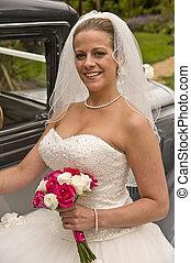 obtendo, vindima, jovem, noiva, atraente, retrato casamento, car