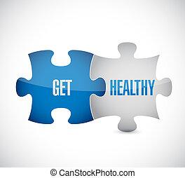 obtenga sano, artículos del rompecabezas, ilustración