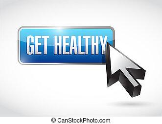 obtenga sano, botón, ilustración, diseño