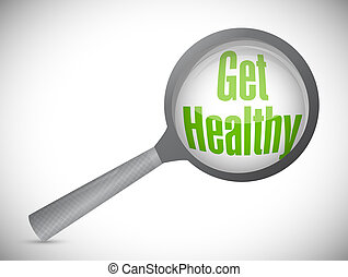 obtenga sano, magnifique vidrio, ilustración
