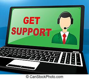 obtenir, assistance, illustration, ligne, 3d, soutien, spectacles