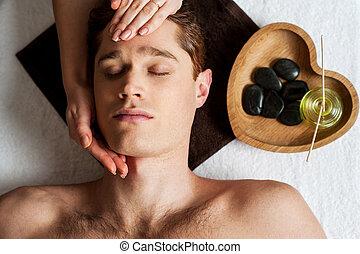 obtenir, décontracté, jeune, figure, type, masage