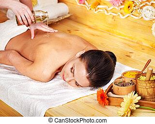 obtenir, femme, masage