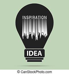 obtenir, lumière, idée, vecteur, vendange, populaire, ampoule, inspiration
