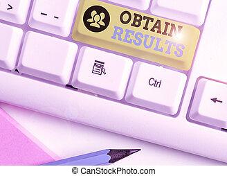 obtenir, ou, texte, projection, match., business, but, photo, écriture, victoire, main, conceptuel, gagner, rencontrer, results., sports