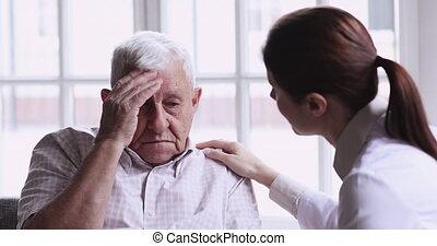 obtenir, papy, psychologique, soucier, soutien, déprimé, personne agee, docteur, vieux