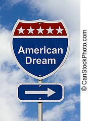obtenir, signe, américain, manière, rêve, route