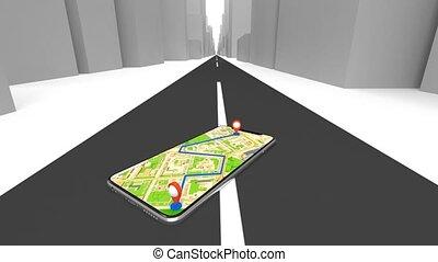 obtenir, téléphone, utilisation, navigateur, navigation, gps