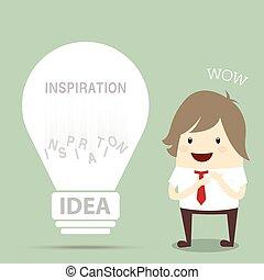 obtenir, vendange, homme affaires, lumière, populaire, trouvé, id, ampoule, heureux