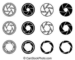 obturador, abertura, cámara, iconos