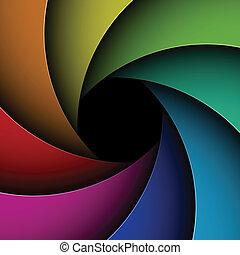obturador, abertura, colorido