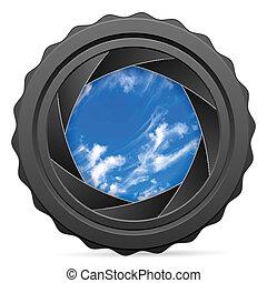 obturador, cámara, cielo, nublado