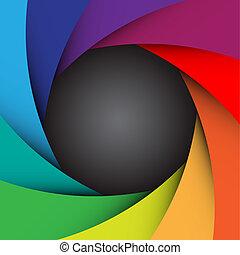 obturador, cámara, eps10, plano de fondo, colorido