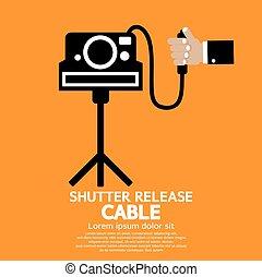obturador, liberación, cable.