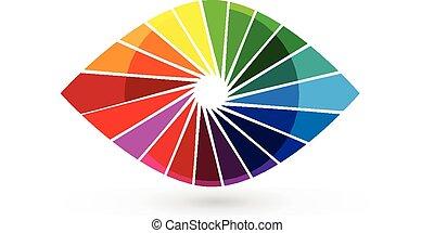 obturador, logotipo, ojo, visión, colorido