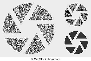 obturador, vector, pixelated, iconos