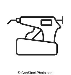 Obturation system linear icon. Endodontics equipment for baking gutta-percha. Endo Heated Pen Condensation for root canal filling system. Vector illustration. Editable stroke.