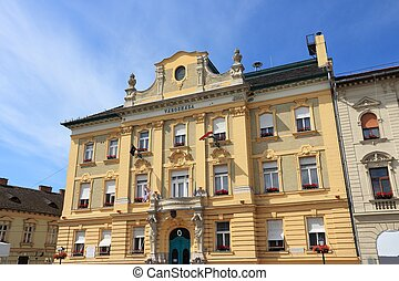 Obuda, Budapest - Budapest, Hungary - town hall building of...
