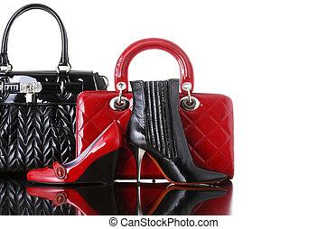 obuv, a, kabelka, móda, fotografie