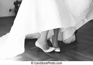 obuwie, closeup, ślub, biały, nogi, panna młoda