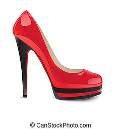 obuwie, czerwony, wysoko-heeled