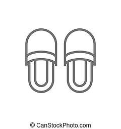 obuwie, pantofelki, dom, odizolowany, icon., tło, biała lina