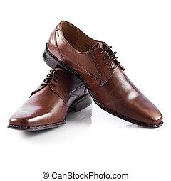 obuwie, shoes., odizolowany, człowiek, tło, biały samczyk