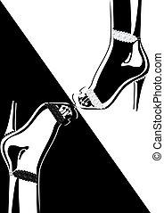 obuwie, wysoko-heeled