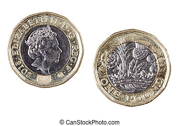 Obverse and reverse sides of the British one pound coin
