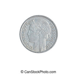 obverse, av, årgång, mynt, gjord, av, frankrike