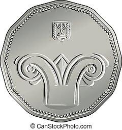 obverse, israelisk, silver, pengar, fem, sikel, mynt