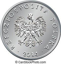 obverse, polska, pengar, en, zloty, mynt