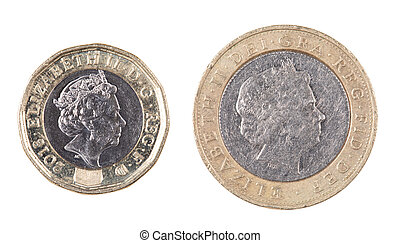 Obverse side of both  British One and Two pound coins