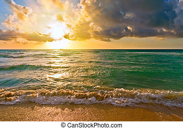 océan atlantique, fl, usa, levers de soleil