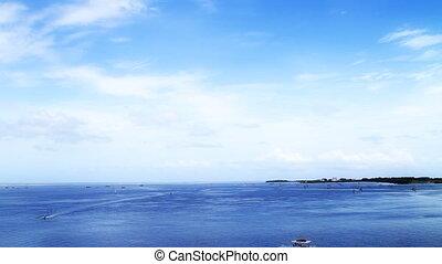 océan bleu, profond, vue