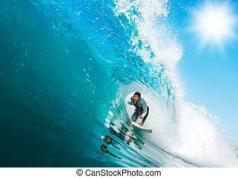 océan bleu, surfeur, vague