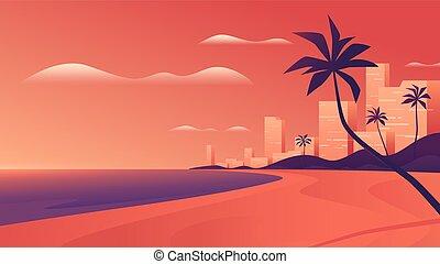 océan, côtier, vif, ville, plage., coucher soleil, vecteur, recours, illustration