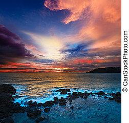 océan, coucher soleil