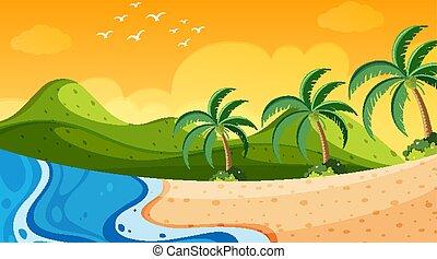 océan, coucher soleil, scène nature