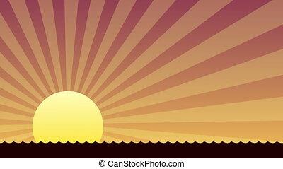 océan, coucher soleil, sur