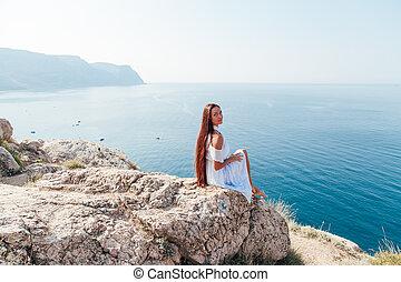 océan, femme, falaise, robe, vue, regarde