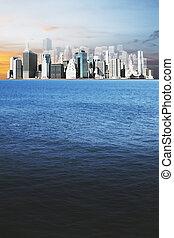 océan, horizon, et, megapolis, ville