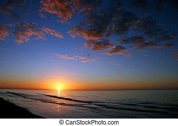 océan, levers de soleil