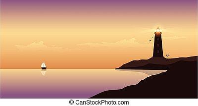 océan, marine, beau, coucher soleil, phare, voilier
