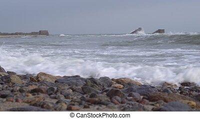 océan, orage, côte
