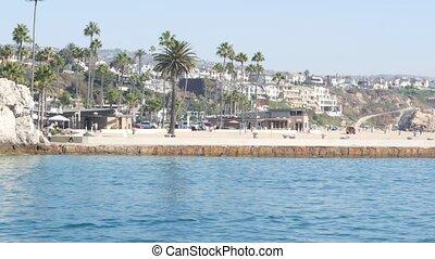 océan pacifique, newport, front mer, californie, front mer, prime, angeles., côte, suburbain, week-end, maisons, propriété, luxe, los, propriété, vacances plage, port, beachfront, usa., vrai, riche, loyer, maisons